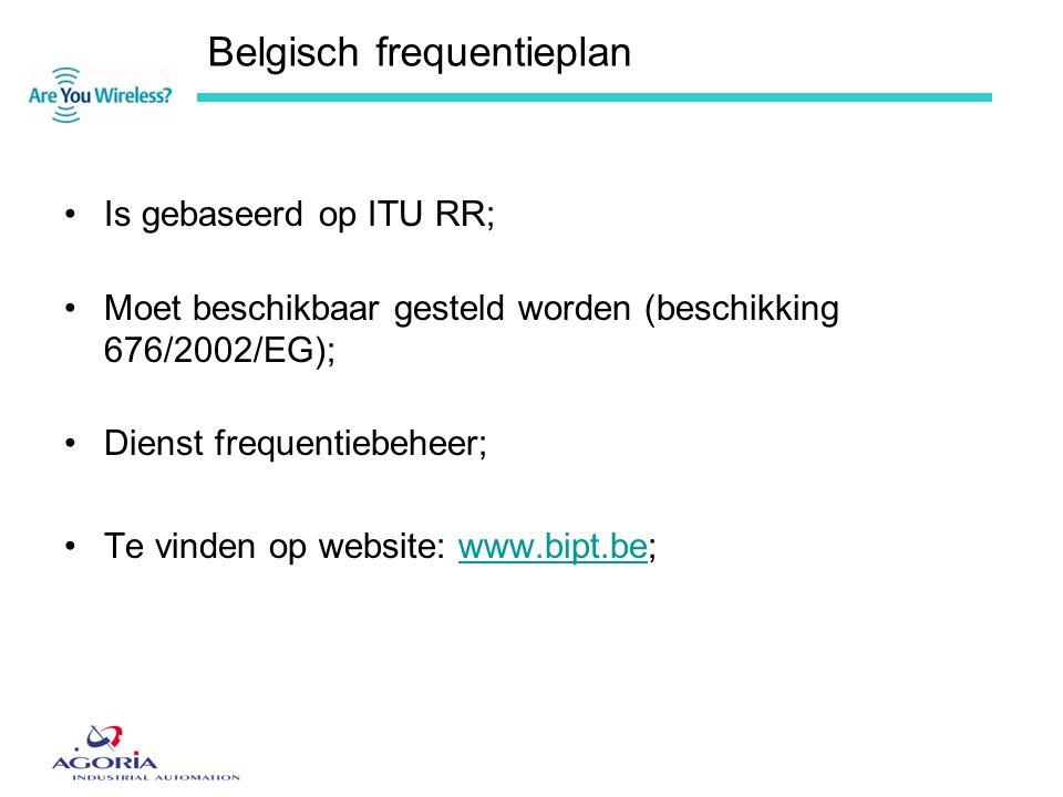 Belgisch frequentieplan •Is gebaseerd op ITU RR; •Moet beschikbaar gesteld worden (beschikking 676/2002/EG); •Dienst frequentiebeheer; •Te vinden op w