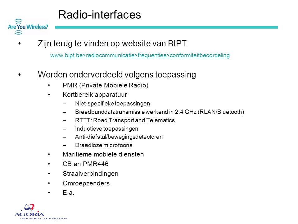 Radio-interfaces •Zijn terug te vinden op website van BIPT: www.bipt.be>radiocommunicatie>frequenties>conformiteitbeoordeling •Worden onderverdeeld vo