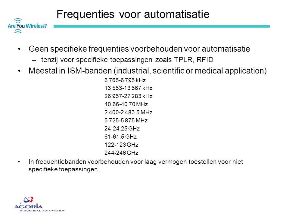 Frequenties voor automatisatie •Geen specifieke frequenties voorbehouden voor automatisatie –tenzij voor specifieke toepassingen zoals TPLR, RFID •Mee