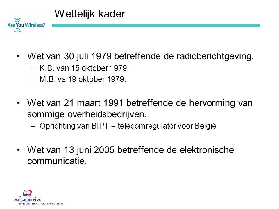 Wettelijk kader •Wet van 30 juli 1979 betreffende de radioberichtgeving. –K.B. van 15 oktober 1979. –M.B. va 19 oktober 1979. •Wet van 21 maart 1991 b