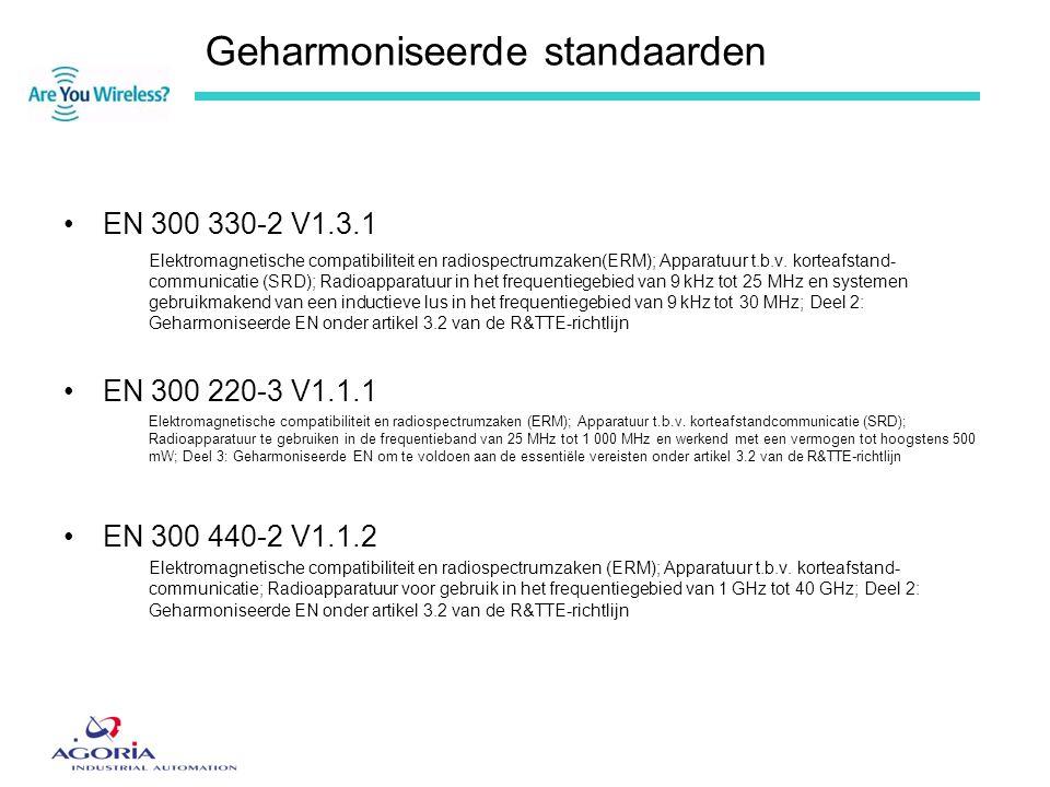 Geharmoniseerde standaarden •EN 300 330-2 V1.3.1 Elektromagnetische compatibiliteit en radiospectrumzaken(ERM); Apparatuur t.b.v. korteafstand- commun