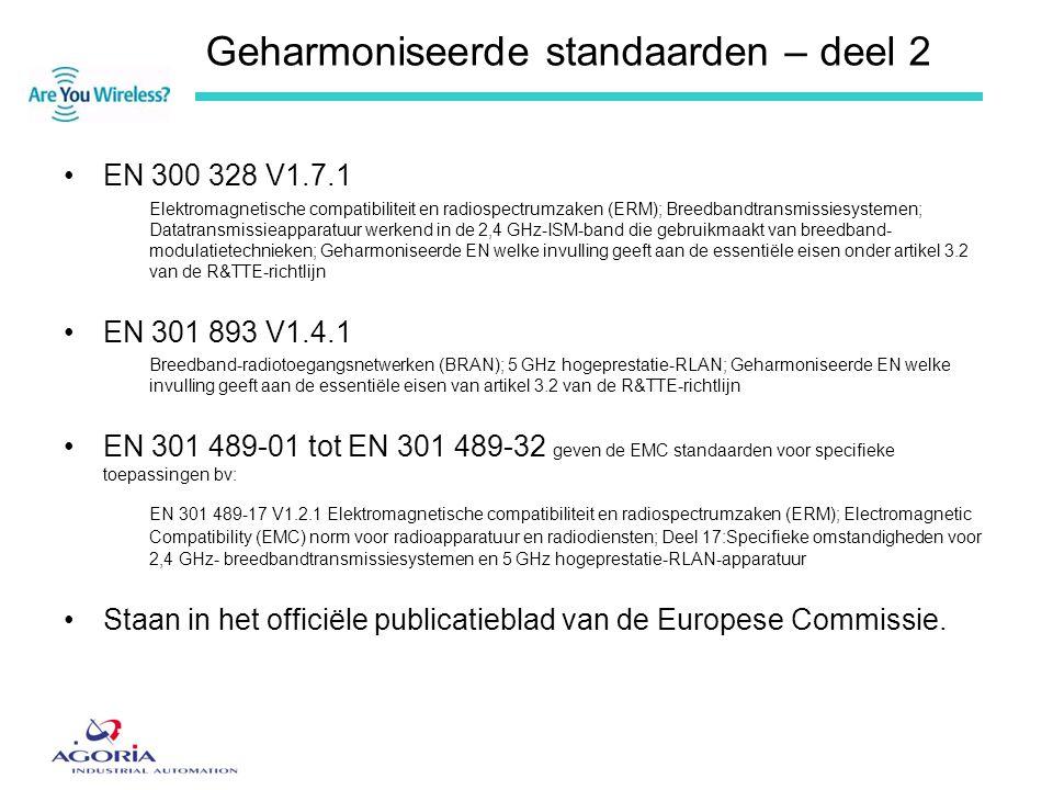 Geharmoniseerde standaarden – deel 2 •EN 300 328 V1.7.1 Elektromagnetische compatibiliteit en radiospectrumzaken (ERM); Breedbandtransmissiesystemen;