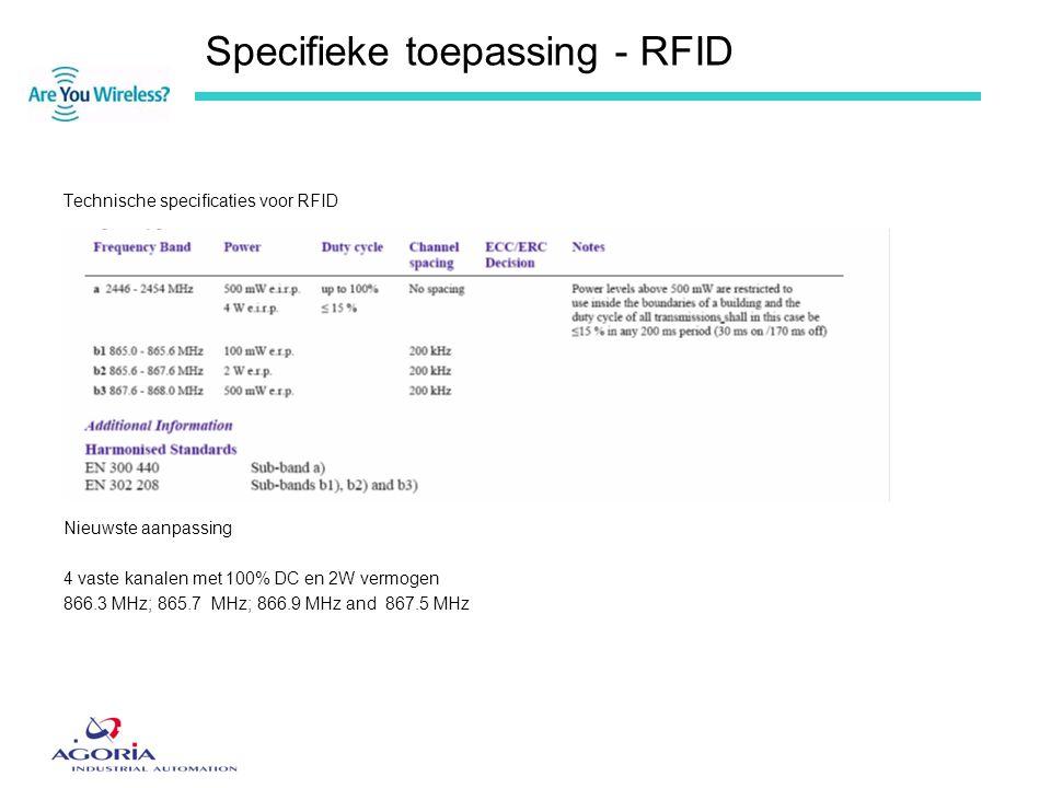 Specifieke toepassing - RFID Technische specificaties voor RFID Nieuwste aanpassing 4 vaste kanalen met 100% DC en 2W vermogen 866.3 MHz; 865.7 MHz; 8