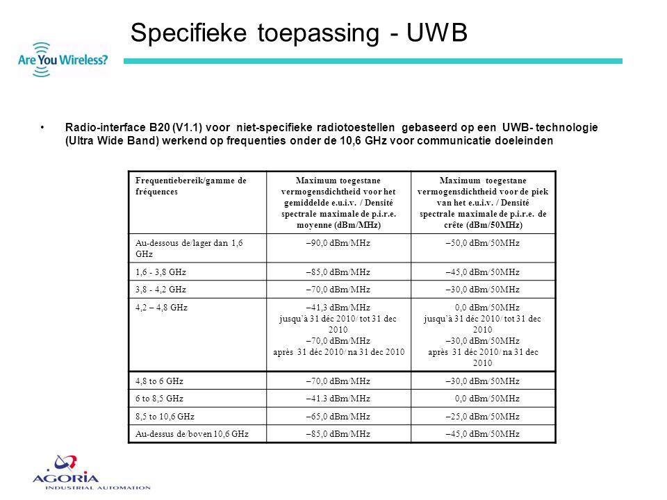 Specifieke toepassing - UWB •Radio-interface B20 (V1.1) voor niet-specifieke radiotoestellen gebaseerd op een UWB- technologie (Ultra Wide Band) werke