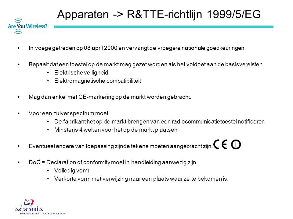Apparaten -> R&TTE-richtlijn 1999/5/EG •In voege getreden op 08 april 2000 en vervangt de vroegere nationale goedkeuringen •Bepaalt dat een toestel op