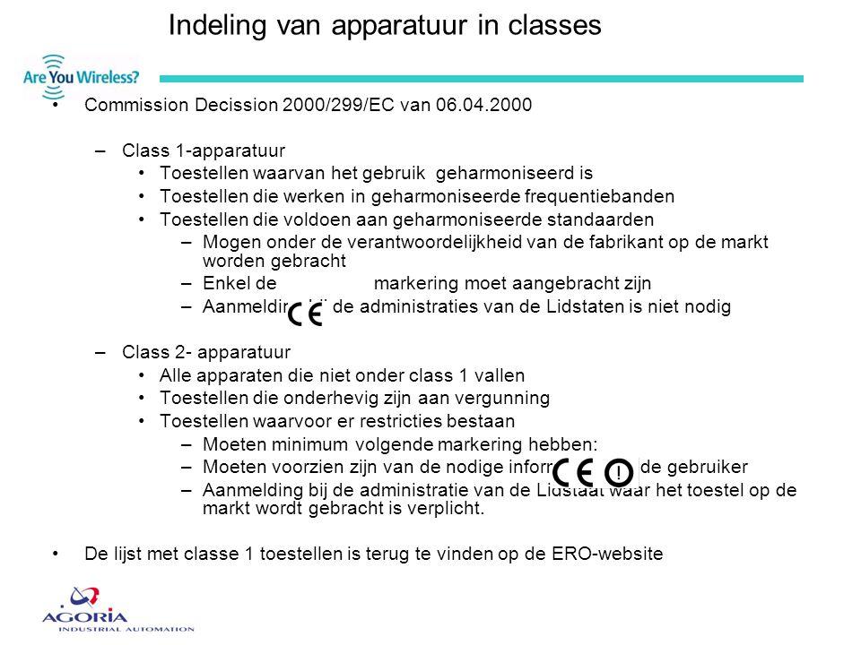 Indeling van apparatuur in classes •Commission Decission 2000/299/EC van 06.04.2000 –Class 1-apparatuur •Toestellen waarvan het gebruik geharmoniseerd