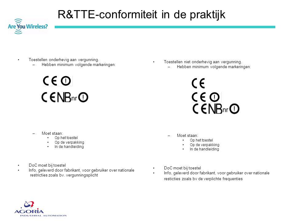 R&TTE-conformiteit in de praktijk •Toestellen onderhevig aan vergunning. –Hebben minimum volgende markeringen: –Moet staan: •Op het toestel •Op de ver