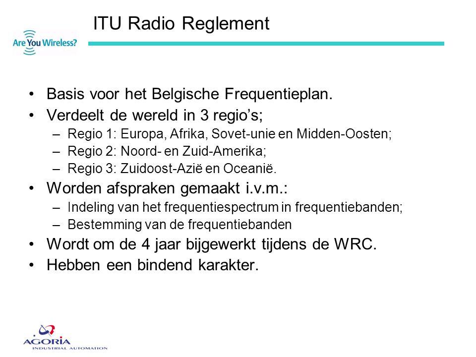ITU Radio Reglement •Basis voor het Belgische Frequentieplan. •Verdeelt de wereld in 3 regio's; –Regio 1: Europa, Afrika, Sovet-unie en Midden-Oosten;