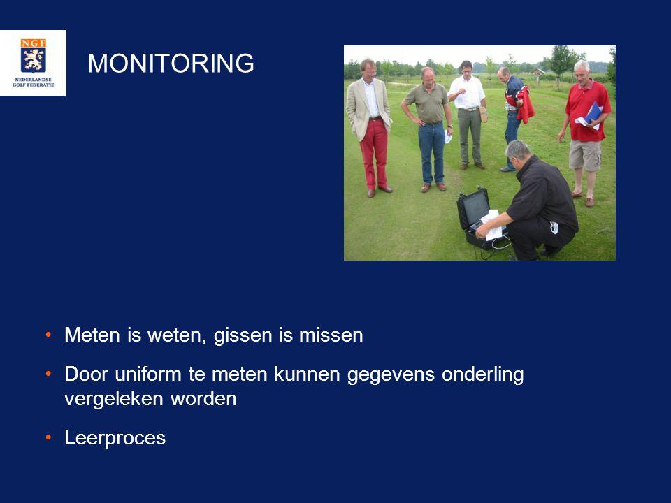 MONITORING •Meten is weten, gissen is missen •Door uniform te meten kunnen gegevens onderling vergeleken worden •Leerproces