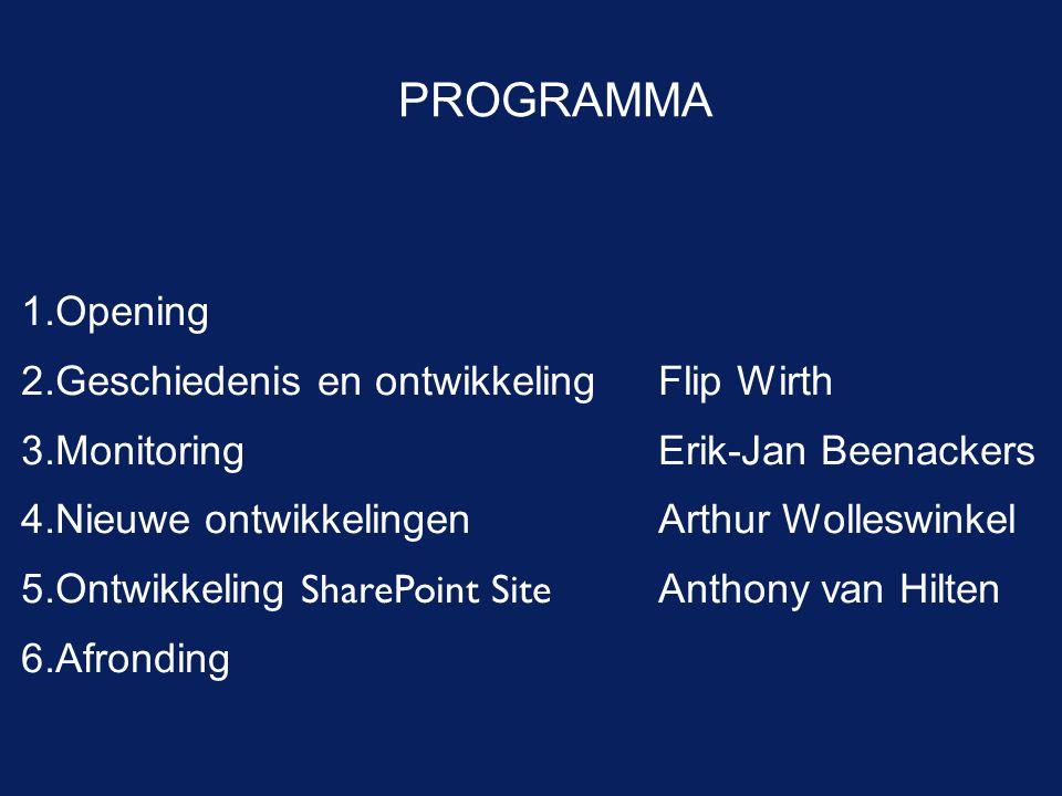 PROGRAMMA 1.Opening 2.Geschiedenis en ontwikkelingFlip Wirth 3.MonitoringErik-Jan Beenackers 4.Nieuwe ontwikkelingenArthur Wolleswinkel 5.Ontwikkeling