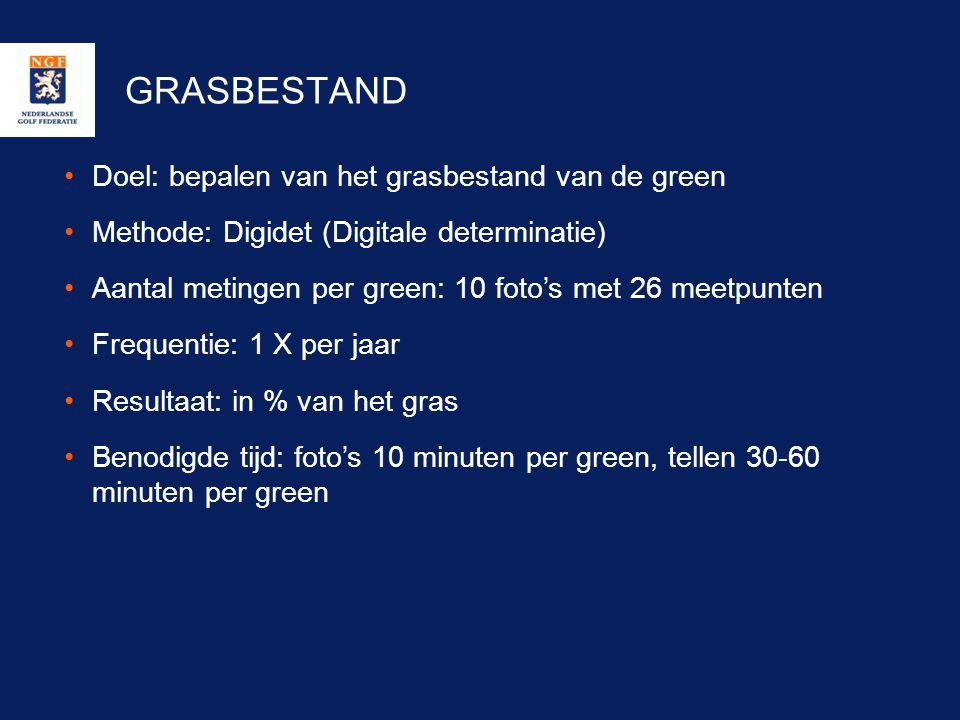 GRASBESTAND •Doel: bepalen van het grasbestand van de green •Methode: Digidet (Digitale determinatie) •Aantal metingen per green: 10 foto's met 26 mee