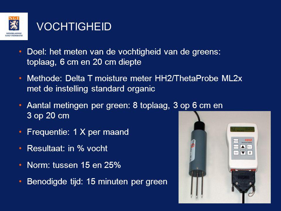 VOCHTIGHEID •Doel: het meten van de vochtigheid van de greens: toplaag, 6 cm en 20 cm diepte •Methode: Delta T moisture meter HH2/ThetaProbe ML2x met
