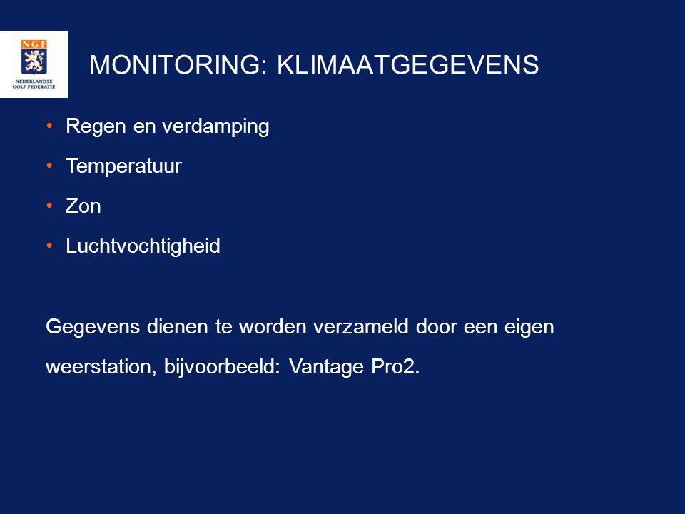 MONITORING: KLIMAATGEGEVENS •Regen en verdamping •Temperatuur •Zon •Luchtvochtigheid Gegevens dienen te worden verzameld door een eigen weerstation, b