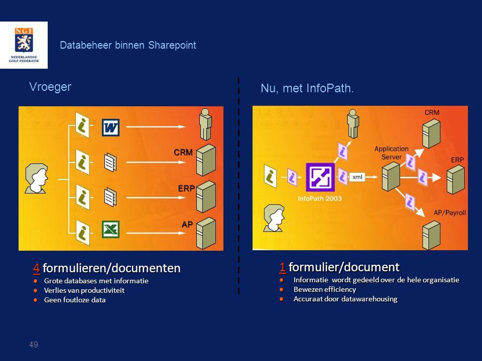 49 Databeheer binnen Sharepoint Vroeger Nu, met InfoPath. 4 formulieren/documenten  Grote databases met informatie  Verlies van productiviteit  Gee