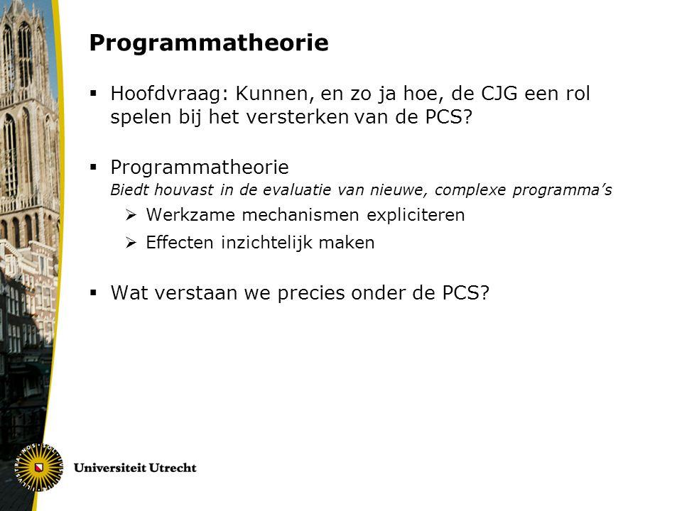 Programmatheorie  Hoofdvraag: Kunnen, en zo ja hoe, de CJG een rol spelen bij het versterken van de PCS?  Programmatheorie Biedt houvast in de evalu