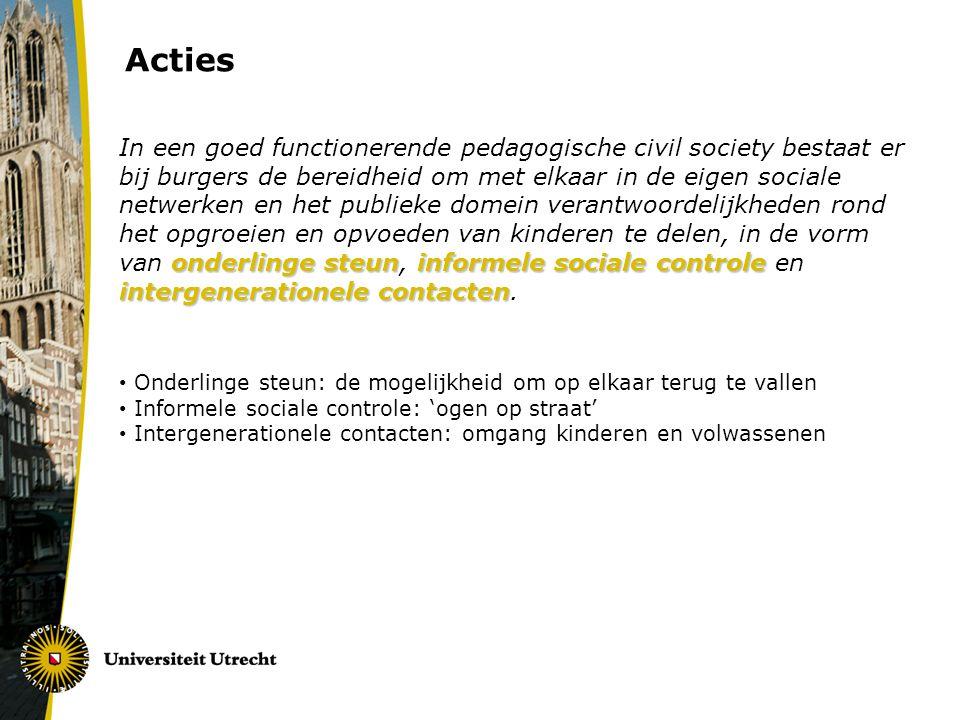 Acties onderlinge steuninformele sociale controle intergenerationele contacten In een goed functionerende pedagogische civil society bestaat er bij bu