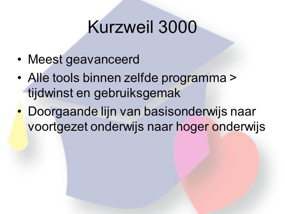 Kurzweil 3000 •Meest geavanceerd •Alle tools binnen zelfde programma > tijdwinst en gebruiksgemak •Doorgaande lijn van basisonderwijs naar voortgezet onderwijs naar hoger onderwijs