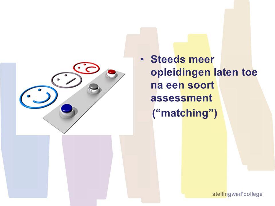 "stellingwerf college •Steeds meer opleidingen laten toe na een soort assessment (""matching"")"