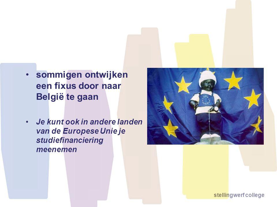 stellingwerf college •sommigen ontwijken een fixus door naar België te gaan •Je kunt ook in andere landen van de Europese Unie je studiefinanciering m