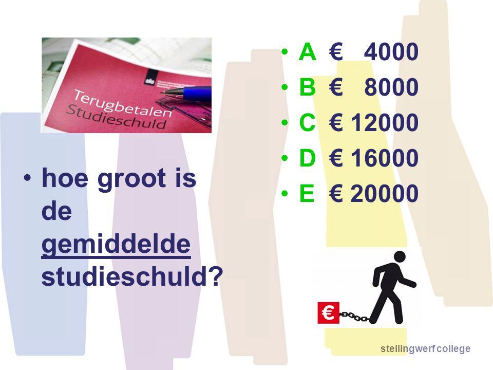 stellingwerf college •hoe groot is de gemiddelde studieschuld? •A€ 4000 •B€ 8000 •C€ 12000 •D€ 16000 •E€ 20000