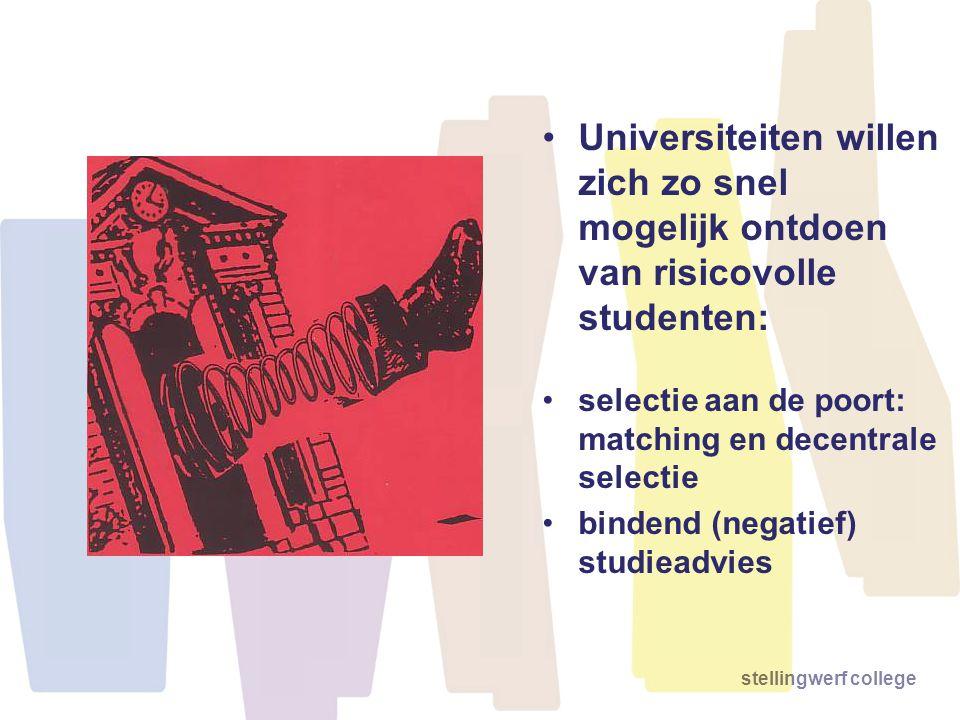 stellingwerf college •Universiteiten willen zich zo snel mogelijk ontdoen van risicovolle studenten: •selectie aan de poort: matching en decentrale se
