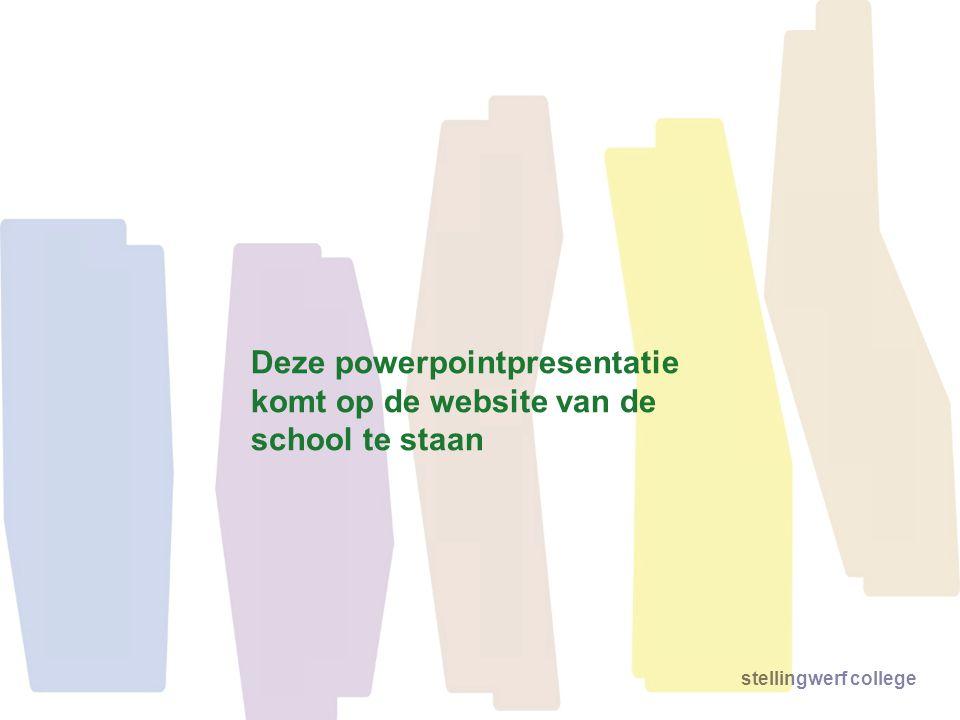 stellingwerf college Deze powerpointpresentatie komt op de website van de school te staan