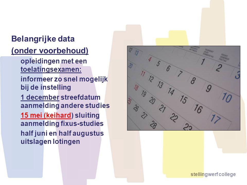 Belangrijke data (onder voorbehoud) opleidingen met een toelatingsexamen: informeer zo snel mogelijk bij de instelling 1 december streefdatum aanmeldi