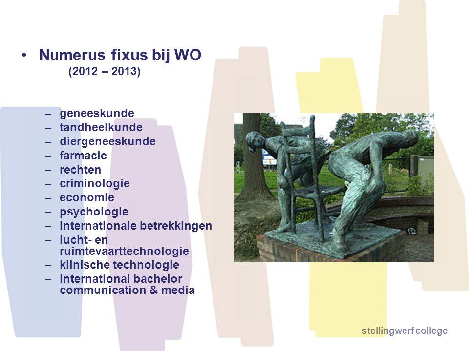 stellingwerf college •Numerus fixus bij WO (2012 – 2013) –geneeskunde –tandheelkunde –diergeneeskunde –farmacie –rechten –criminologie –economie –psyc