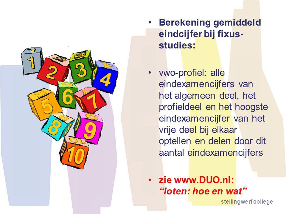 stellingwerf college •Berekening gemiddeld eindcijfer bij fixus- studies: •vwo-profiel: alle eindexamencijfers van het algemeen deel, het profieldeel