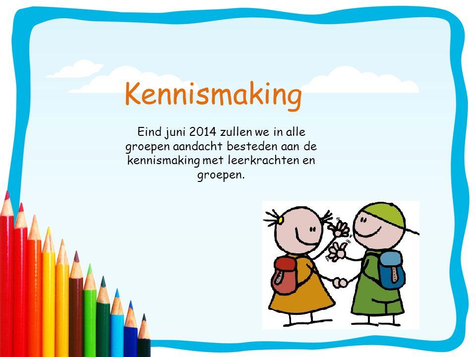 Kennismaking Eind juni 2014 zullen we in alle groepen aandacht besteden aan de kennismaking met leerkrachten en groepen.