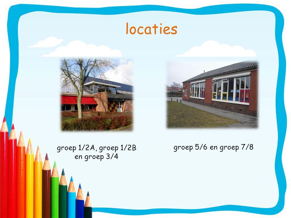 locaties groep 5/6 en groep 7/8 groep 1/2A, groep 1/2B en groep 3/4
