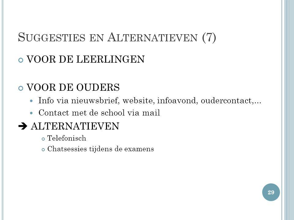 S UGGESTIES EN A LTERNATIEVEN (7) VOOR DE LEERLINGEN VOOR DE OUDERS  Info via nieuwsbrief, website, infoavond, oudercontact,...  Contact met de scho