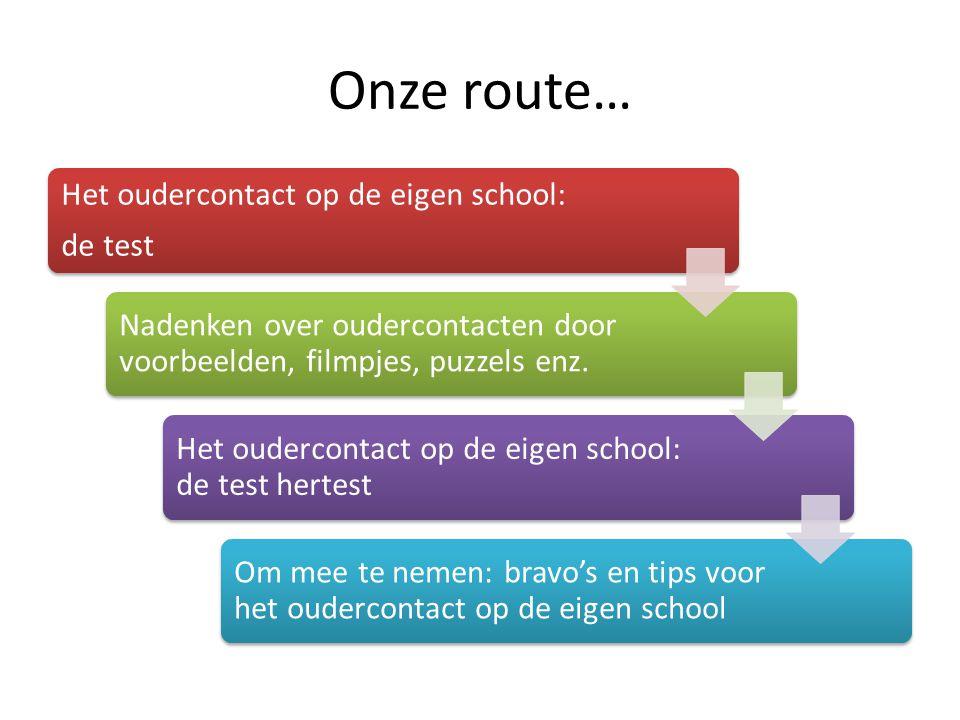 Onze route… Het oudercontact op de eigen school: de test Nadenken over oudercontacten door voorbeelden, filmpjes, puzzels enz. Het oudercontact op de