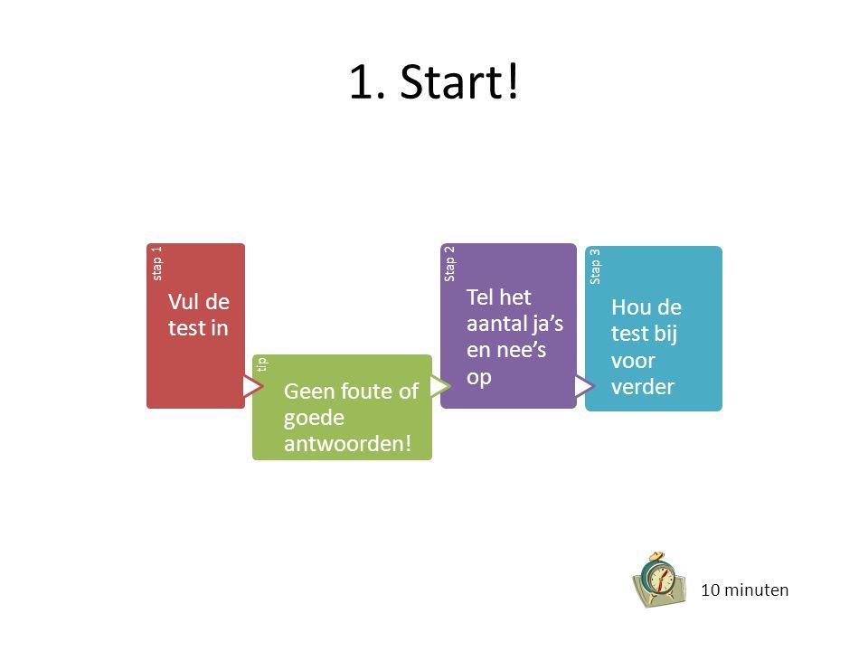 1. Start! stap 1 Vul de test in tip Geen foute of goede antwoorden! Stap 2 Tel het aantal ja's en nee's op Stap 3 Hou de test bij voor verder 10 minut