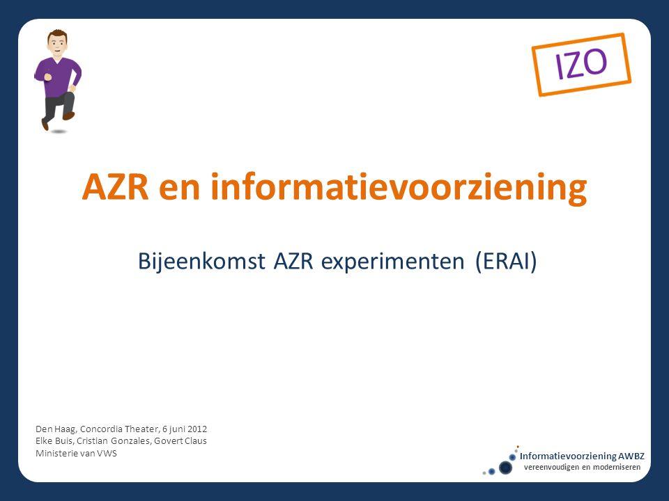 Bijeenkomst AZR experimenten (ERAI) AZR en informatievoorziening Den Haag, Concordia Theater, 6 juni 2012 Elke Buis, Cristian Gonzales, Govert Claus M
