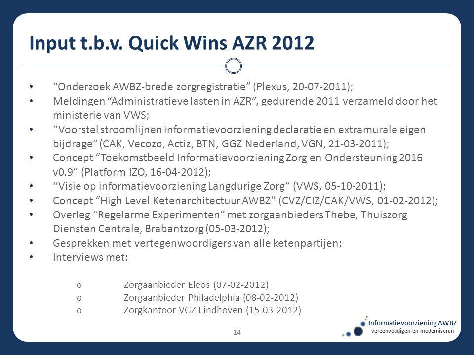 """• """"Onderzoek AWBZ-brede zorgregistratie"""" (Plexus, 20-07-2011); • Meldingen """"Administratieve lasten in AZR"""", gedurende 2011 verzameld door het minister"""