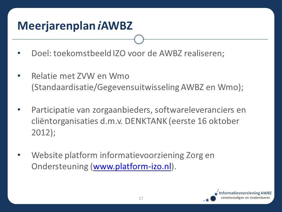 Meerjarenplan i AWBZ Informatievoorziening AWBZ vereenvoudigen en moderniseren • Doel: toekomstbeeld IZO voor de AWBZ realiseren; • Relatie met ZVW en