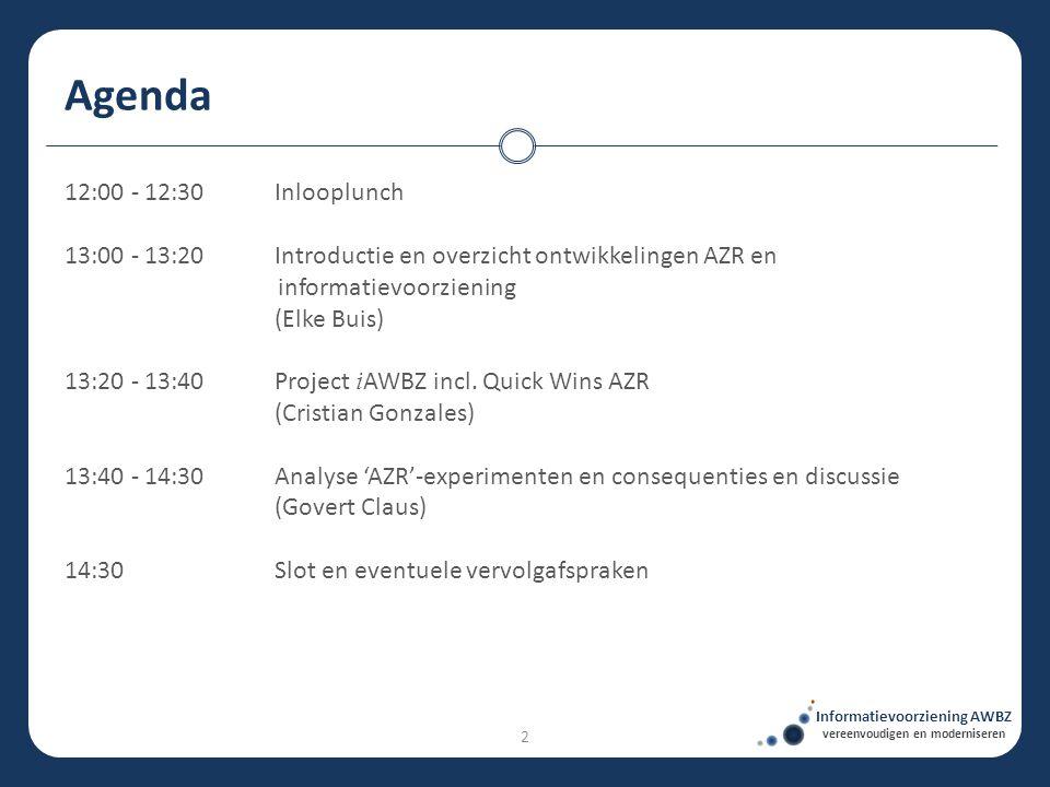 12:00 - 12:30Inlooplunch 13:00 - 13:20Introductie en overzicht ontwikkelingen AZR en informatievoorziening (Elke Buis) 13:20 - 13:40Project i AWBZ inc