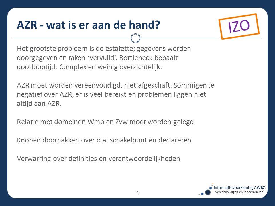 AZR - wat is er aan de hand? Informatievoorziening AWBZ vereenvoudigen en moderniseren Het grootste probleem is de estafette; gegevens worden doorgege