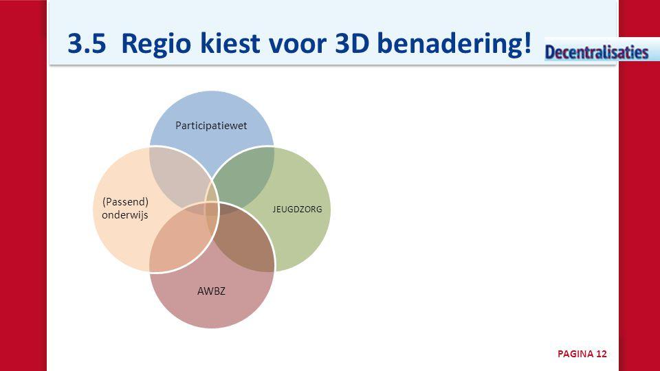 3.5 Regio kiest voor 3D benadering! Participatiewet JEUGDZORG AWBZ (Passend) onderwijs PAGINA 12