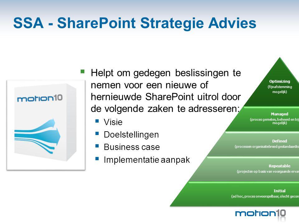 SSA - SharePoint Strategie Advies  Helpt om gedegen beslissingen te nemen voor een nieuwe of hernieuwde SharePoint uitrol door de volgende zaken te a
