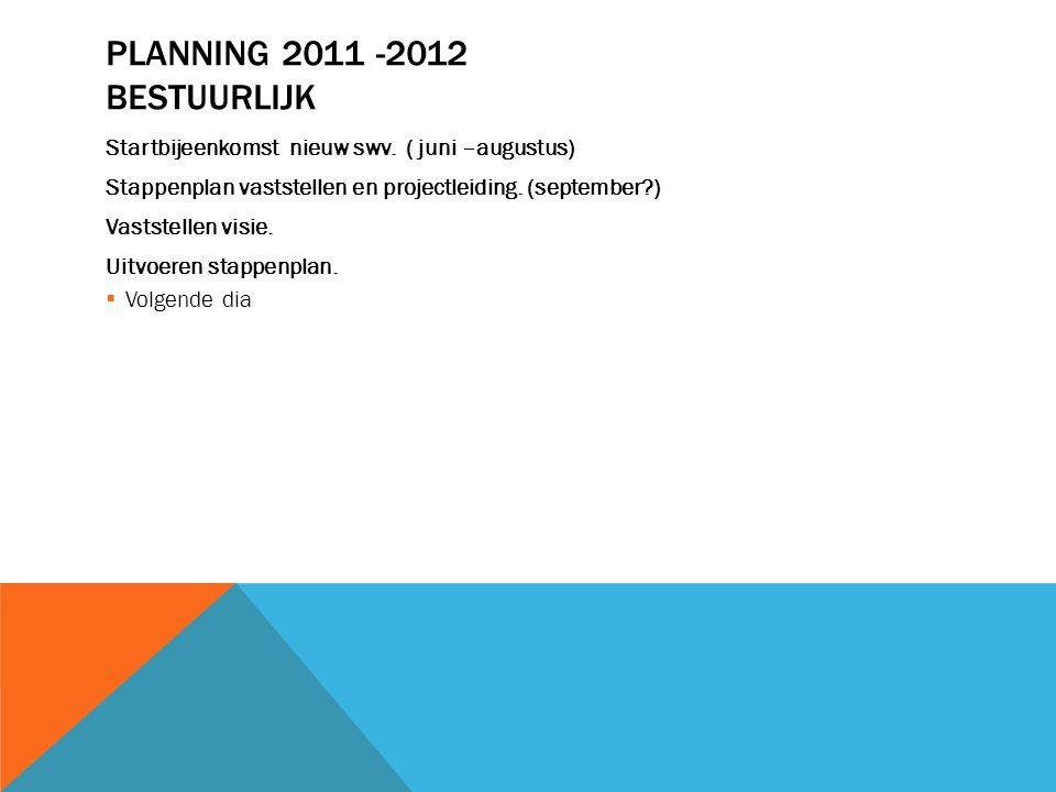 PLANNING 2011 -2012 BESTUURLIJK Startbijeenkomst nieuw swv. ( juni –augustus) Stappenplan vaststellen en projectleiding. (september?) Vaststellen visi