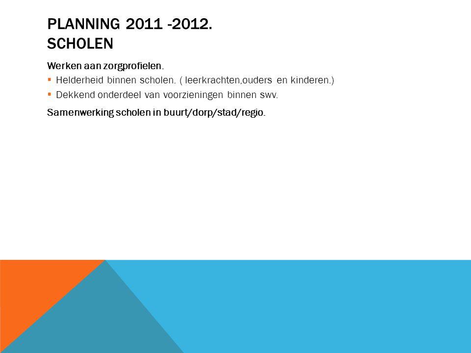 PLANNING 2011 -2012. SCHOLEN Werken aan zorgprofielen.  Helderheid binnen scholen. ( leerkrachten,ouders en kinderen.)  Dekkend onderdeel van voorzi