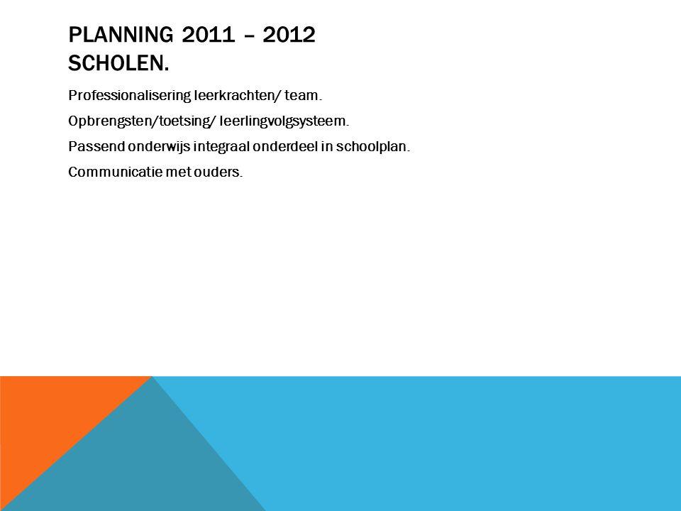 PLANNING 2011 – 2012 SCHOLEN. Professionalisering leerkrachten/ team. Opbrengsten/toetsing/ leerlingvolgsysteem. Passend onderwijs integraal onderdeel