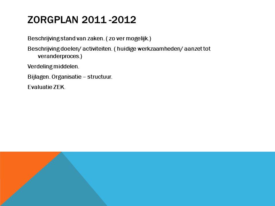 ZORGPLAN 2011 -2012 Beschrijving stand van zaken. ( zo ver mogelijk.) Beschrijving doelen/ activiteiten. ( huidige werkzaamheden/ aanzet tot veranderp