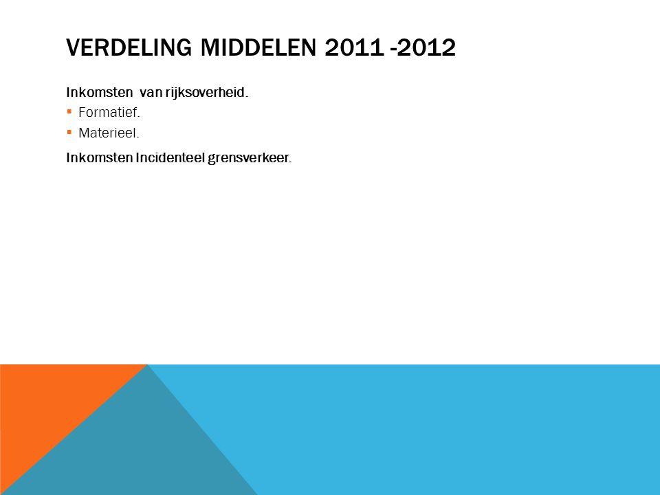 VERDELING MIDDELEN 2011 -2012 Inkomsten van rijksoverheid.  Formatief.  Materieel. Inkomsten Incidenteel grensverkeer.