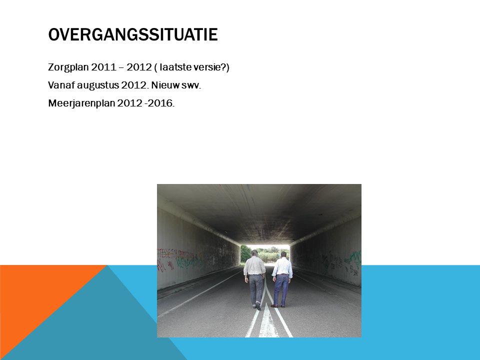 OVERGANGSSITUATIE Zorgplan 2011 – 2012 ( laatste versie?) Vanaf augustus 2012. Nieuw swv. Meerjarenplan 2012 -2016.