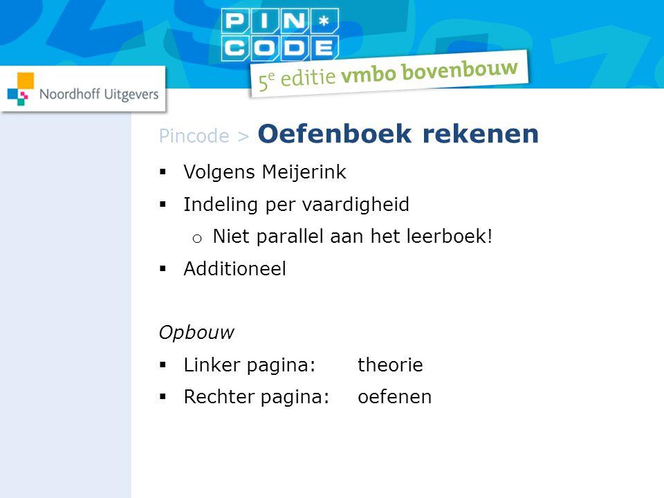  Volgens Meijerink  Indeling per vaardigheid o Niet parallel aan het leerboek!  Additioneel Opbouw  Linker pagina:theorie  Rechter pagina:oefenen