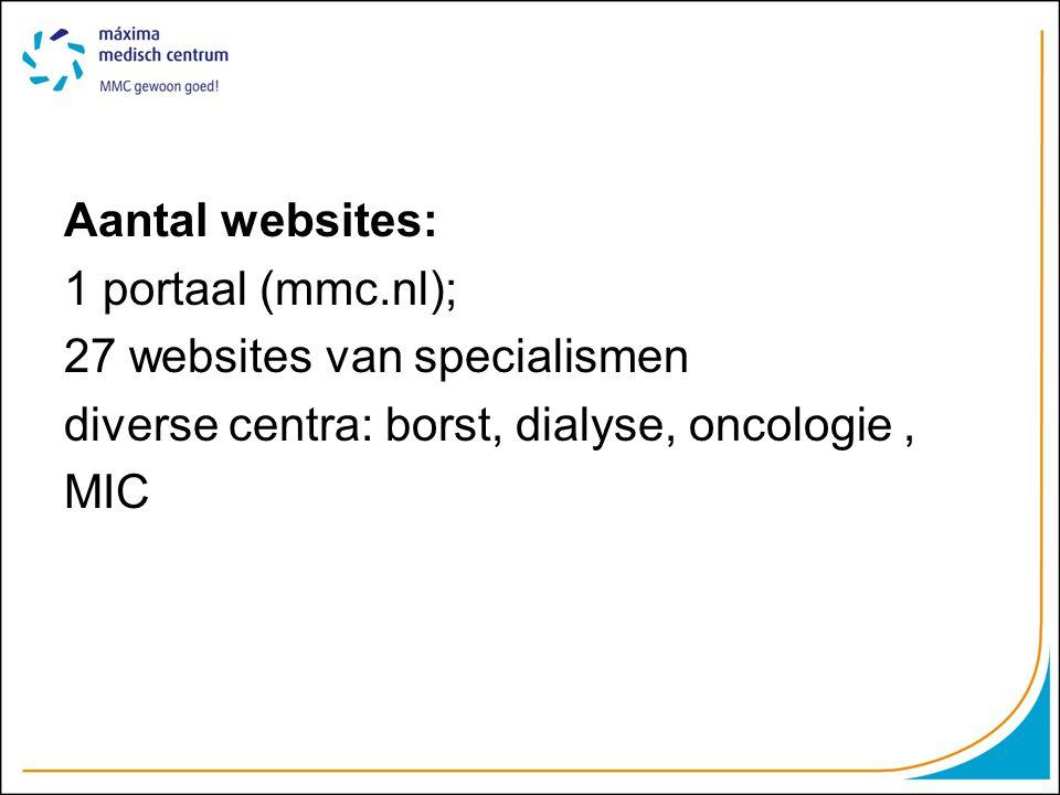 Werkstructuur: Stuurgroep @ MCK WebmastersTechniek@ Myxt Content beheerders: •29 decentrale content beheerders •6 centrale beheerders klankbord