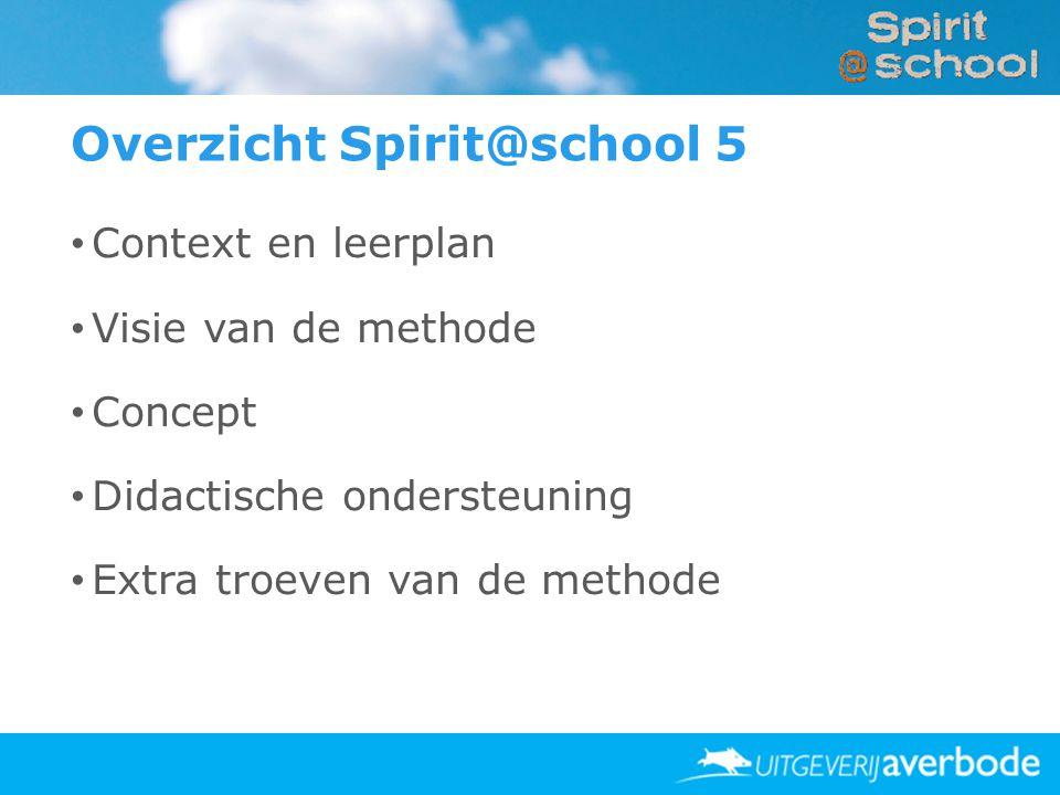 Overzicht Spirit@school 5 • Context en leerplan • Visie van de methode • Concept • Didactische ondersteuning • Extra troeven van de methode